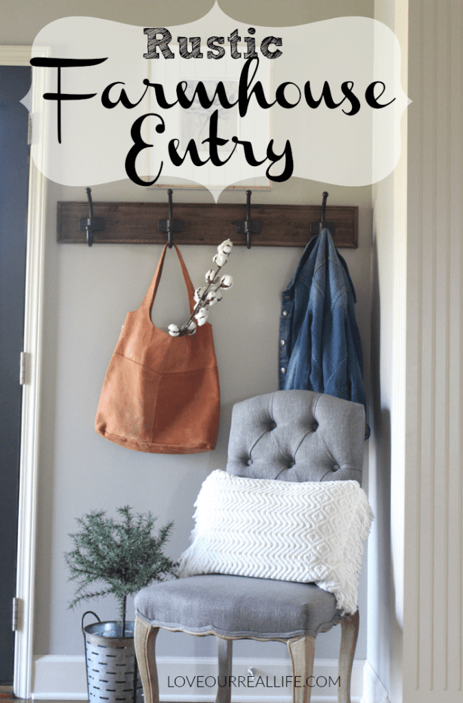 Rustic entryway, Farmhouse entry, Rustic coat rack, farmhouse entry with chair
