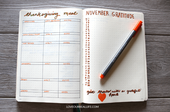 Thanksgiving bullet journal collection, bullet journal spread for thanksgiving, bullet journal spread