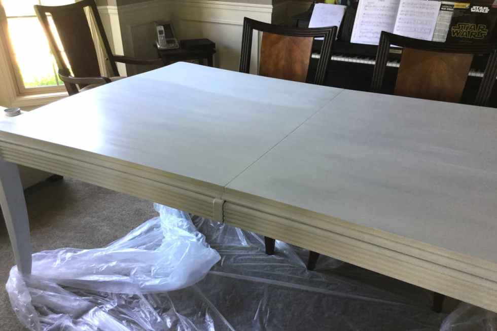 dining table transformation, chalk paint on a dining table, kitchen table makeover