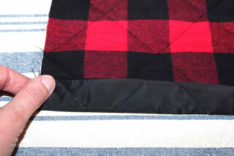 Sew straight seam for reusable fabric gift sacks