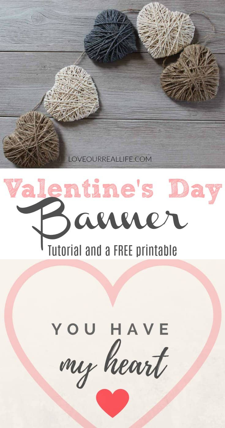 DIY Valentine's Banner with string hearts