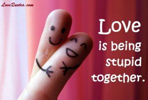 Love Quotes - Love Is Being Stupid Together