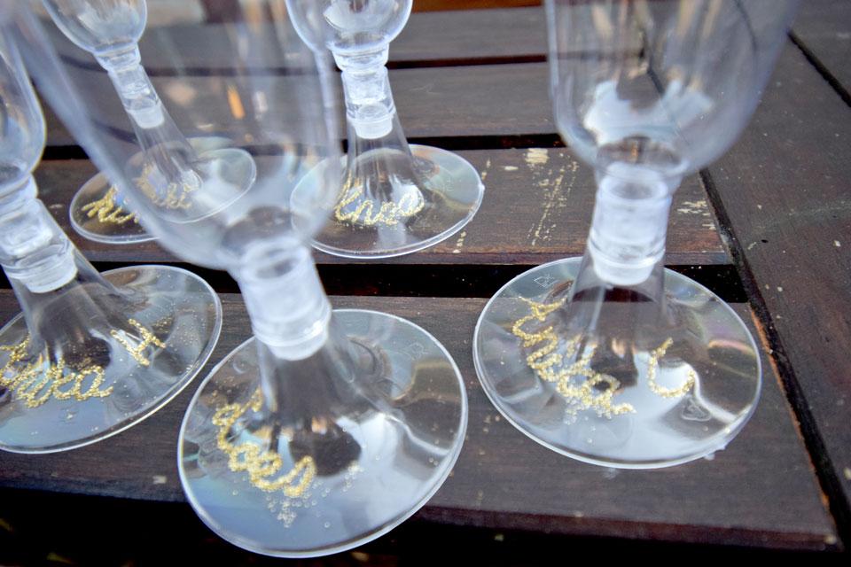 DIY glazen met glitter
