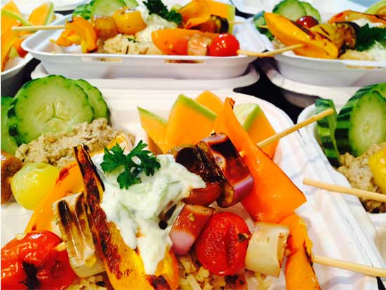 Grilled Veggie Skewers with Tzatziki and Baba Ghanoush