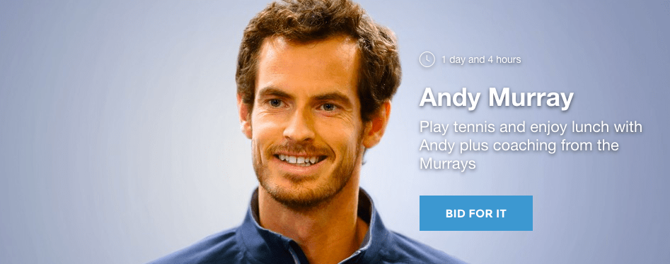Enjoy Lunch in ANDY MURRAY AUCTION