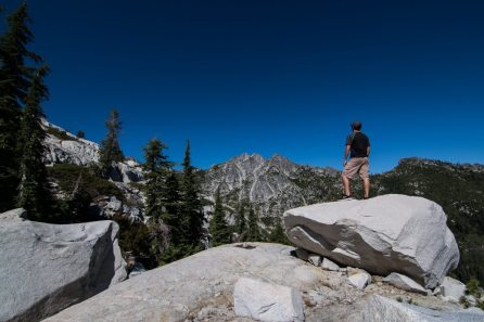 My brother enjoying the view above Big Bear Lake in the Trinity Alps.
