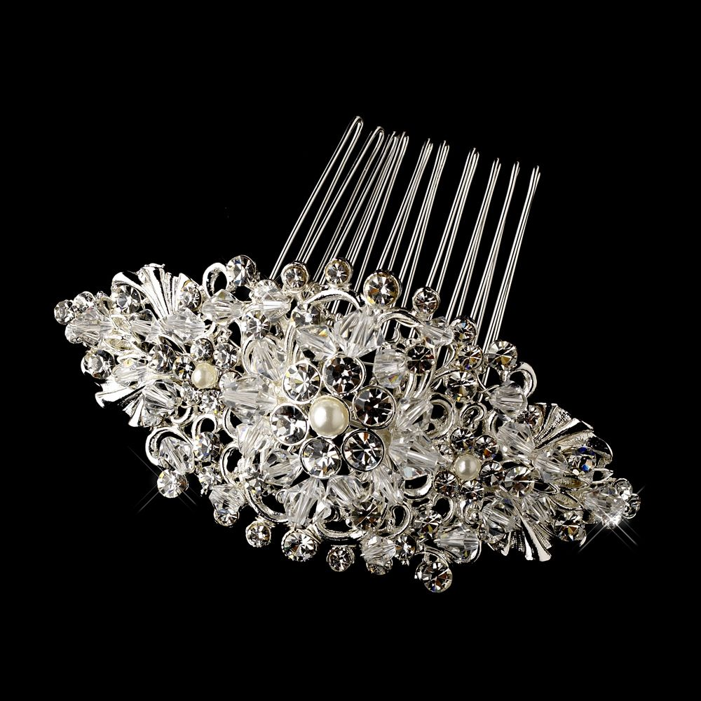 Ntage Crystal Rhinestone Amp Pearl Bridal Comb