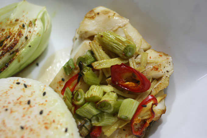 Cod Loin in ginger and chilli