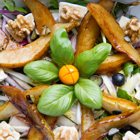 Flambéed Pear, Blue Camembert and Walnut Salad.