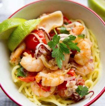 Prawn, squid, lime and white wine spaghetti