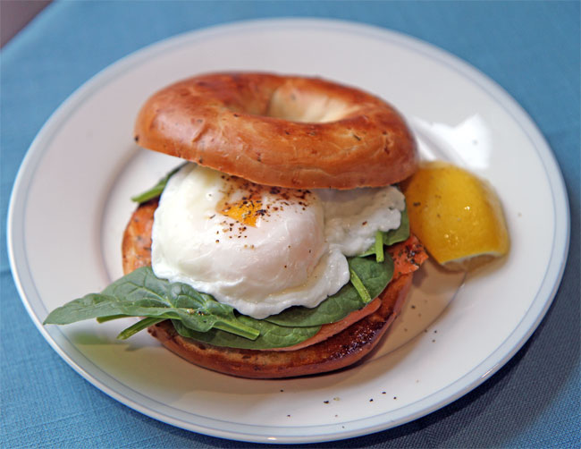 Smoked salmon, spinach and poached egg bagel