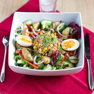 Salade Nicoise with warm Anya potatoes
