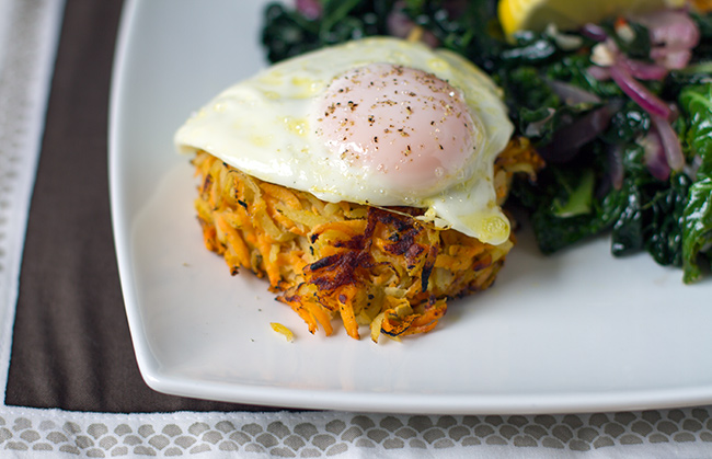 White and Sweet Potato Cheese Rosti