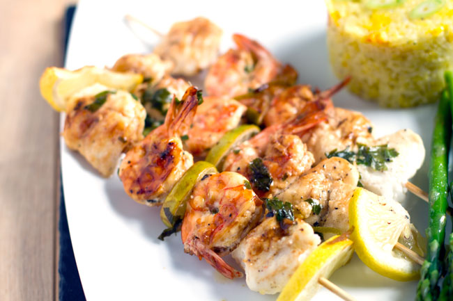 Zesty Monkfish and Tiger Prawn Skewers