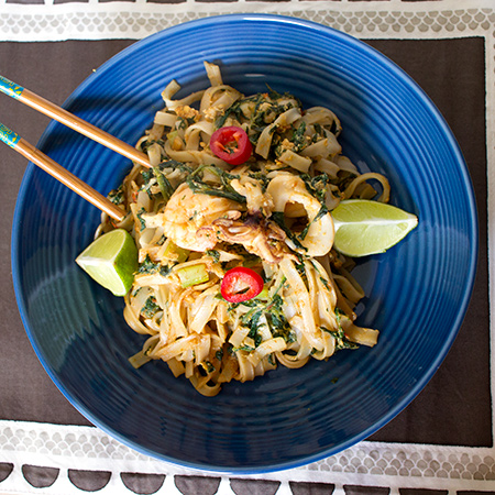 Seafood Char Kuey Teow with Spinach