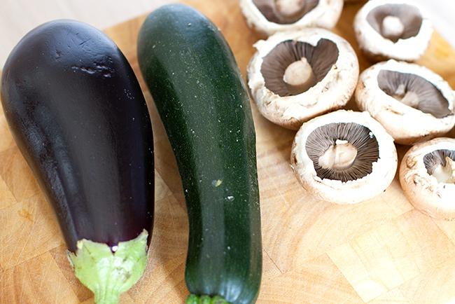 Aubergine, courgette, and portabello mushrooms