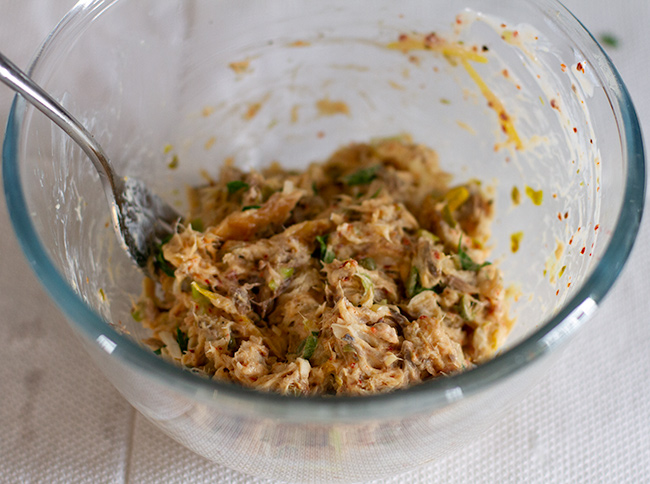 Smoked Mackerel and Aleppo Pepper Rillettes in mixing bowl.