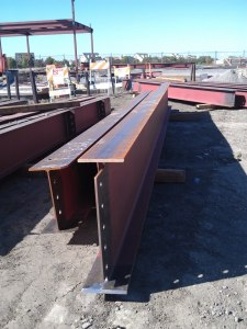 Steel beams destined for installation in the new Northside library building.