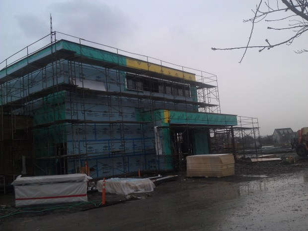 Work on the exterior and interior is well under way.