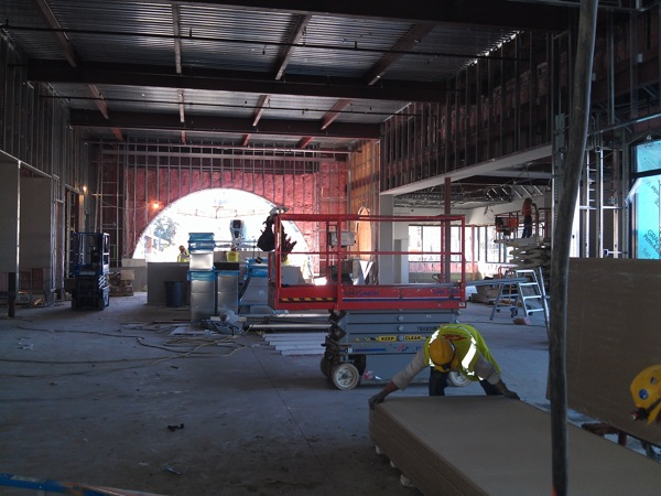 Interior of library under construction.