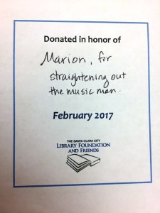 a bookplate supports buying a book for the santa clara city library and allows you to dedicate it to a loved one for example it could say for my mother