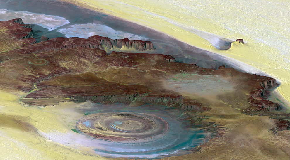 The Richat Structure, a prominent circular feature in the Sahara desert of Mauritania near Ouadane