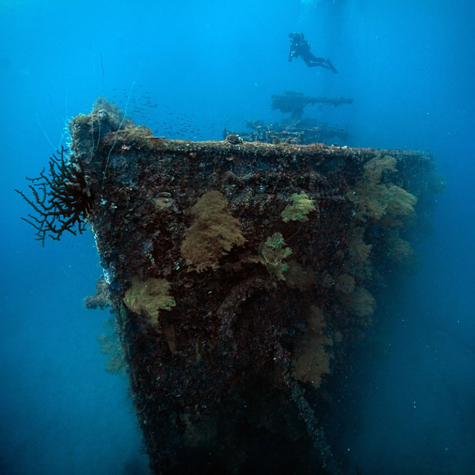 The San Francisco Maru in Truk Lagoon. 65m to the sea-bed