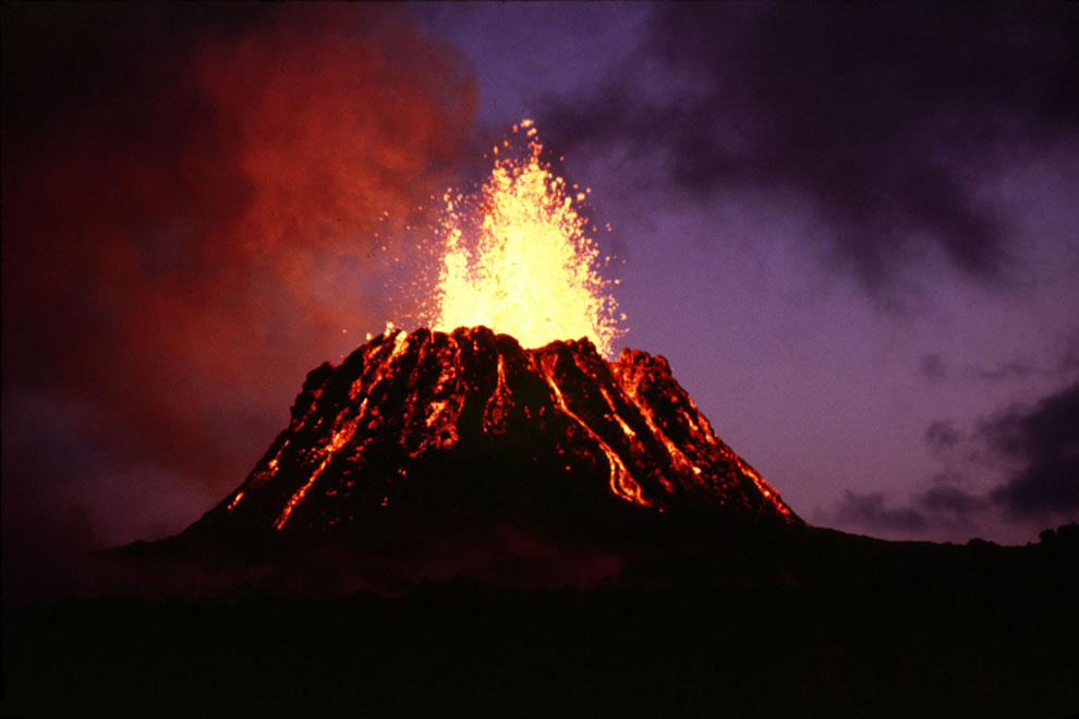 Lava erupting from the Pu`u `O`o vent