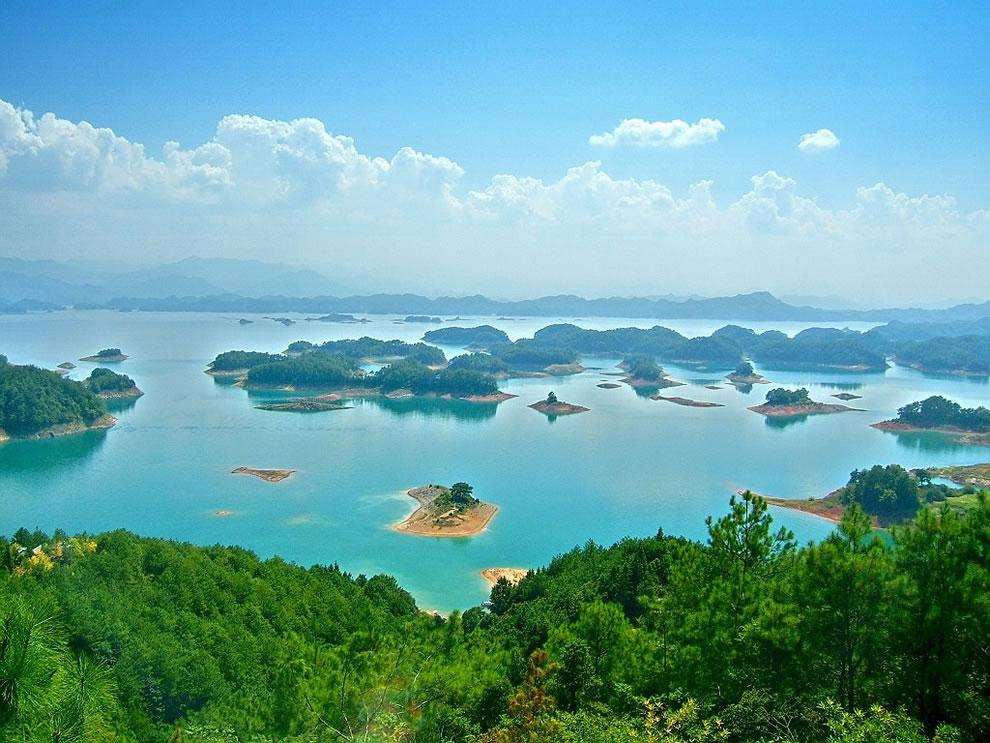 Aerial shot of China's Quiando Lake