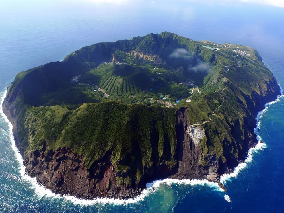 Aerial view of Aogashima, a volcanic Japanese island
