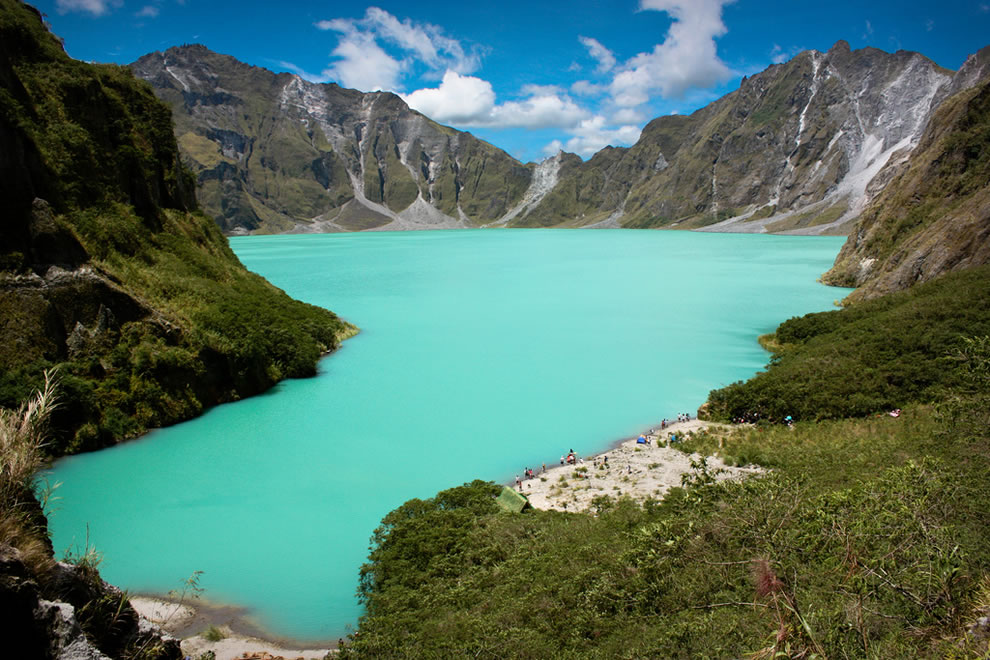 Monsoon rains filled the crater lake, Lake Pinatubo in the Philippines