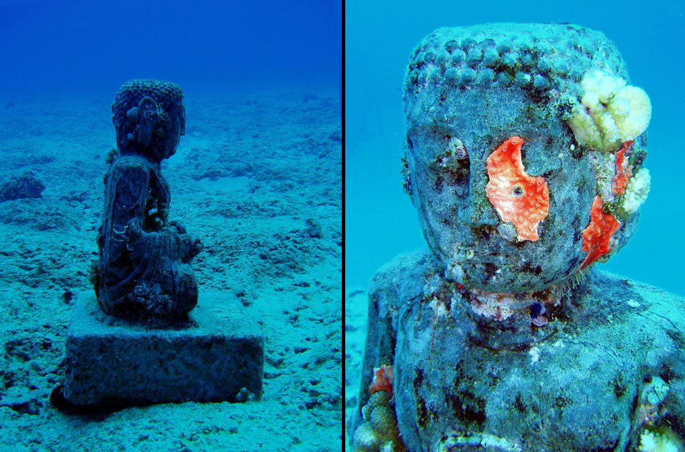 Underwater Buddhist statue in Hawaii