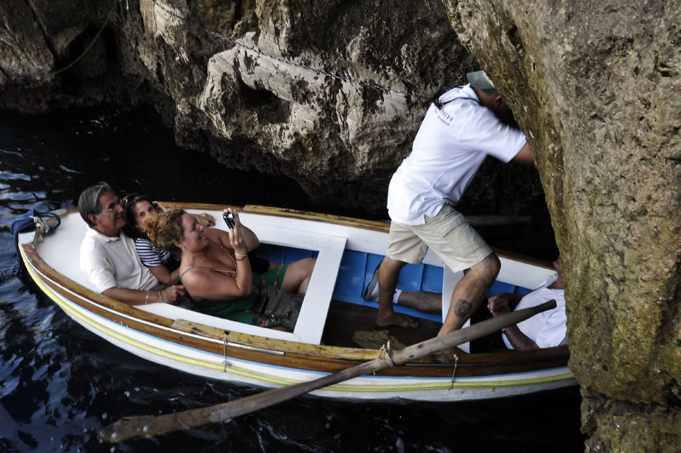 Watch your head at the Blue Grotto in Capri