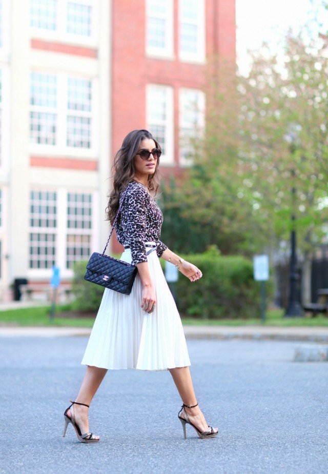 Pleated Midi Skirt White - Dress Ala