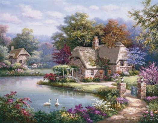 Beautiful Painting Of House On The Lake