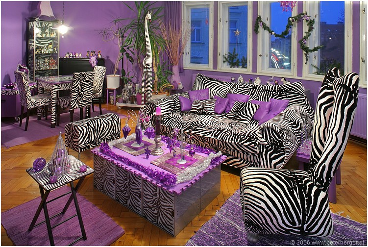 Zebra Stripes Purple Accent Living Room Pictures Photos And Home Design Ideas
