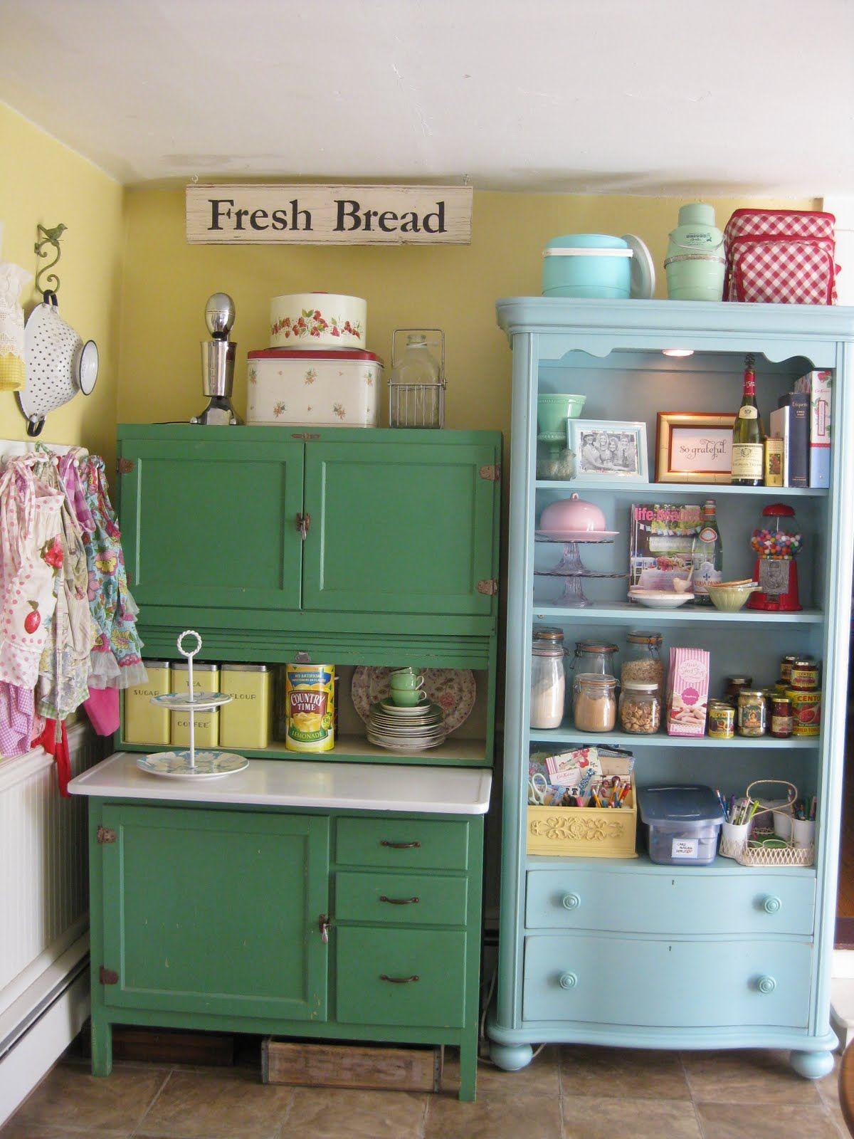 Colorful Vintage Kitchen Storage Ideas Pictures Photos