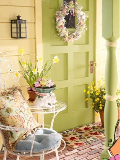 Cute Easter Decorated Front Entrance Pictures Photos And