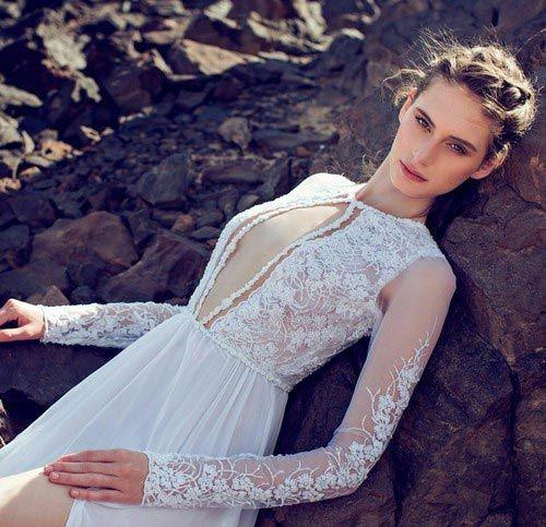 Sheer Plunging Neckline And Long Sleeve Wedding Dress