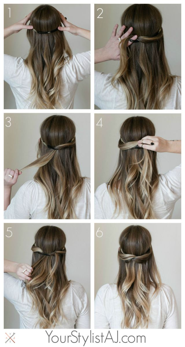 half up headband hair tutorial pictures, photos, and images