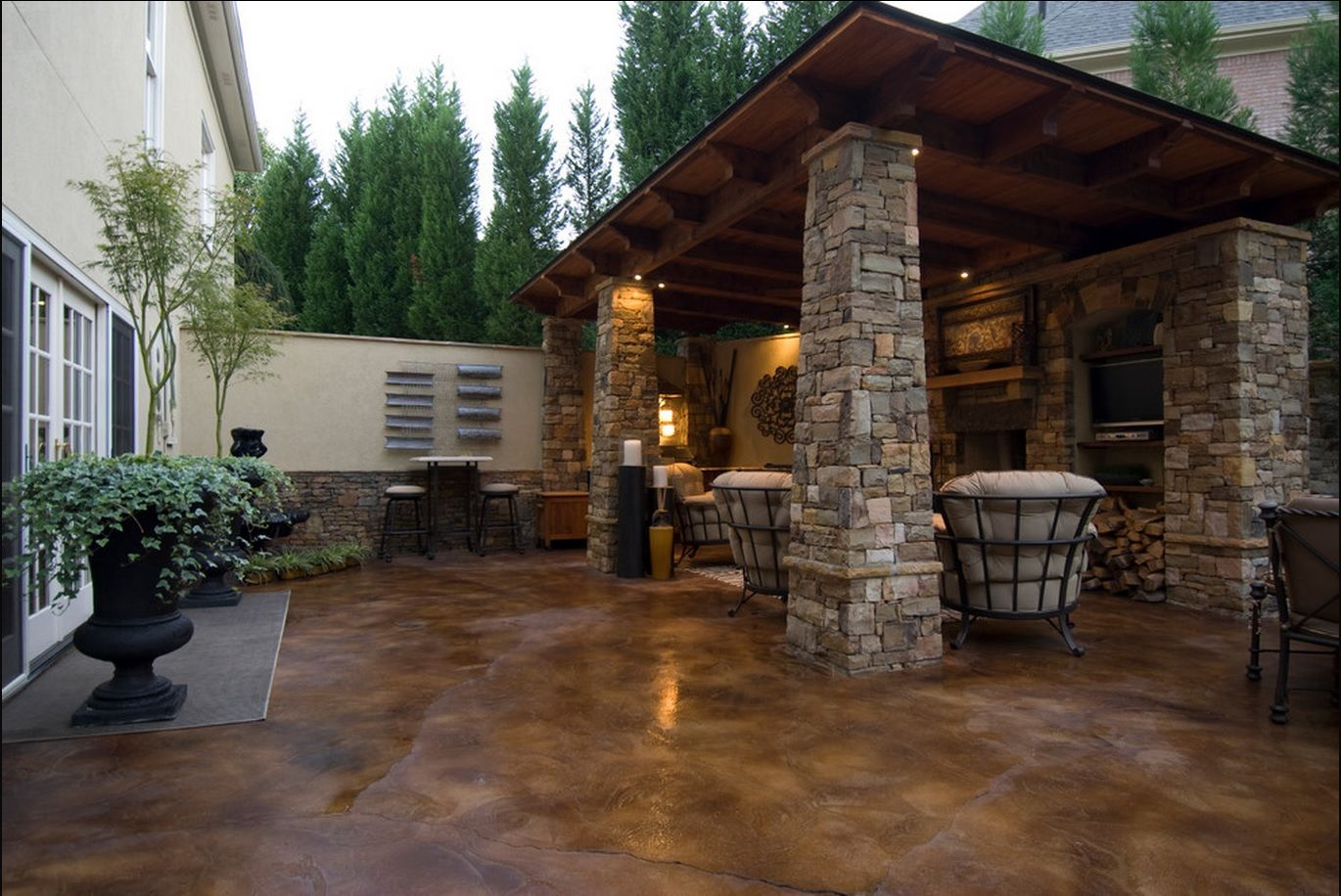 Stained Concrete Slabs Pictures, Photos, and Images for ... on Concrete Slab Backyard Ideas id=16084