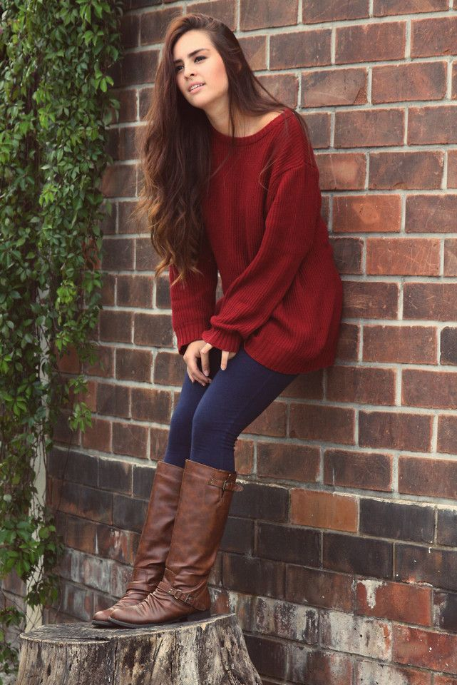 Red Sweater With Jeans And Brown Boots Pictures Photos