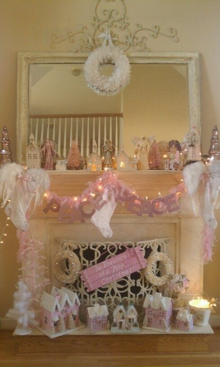 Pink Shabby Chic Christmas Fireplace Pictures Photos And