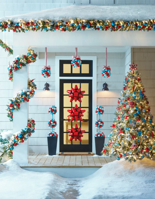 Red And Green Christmas Porch Decor