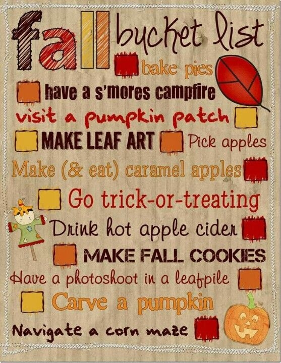 Fall Bucket List Pictures Photos And Images For Facebook