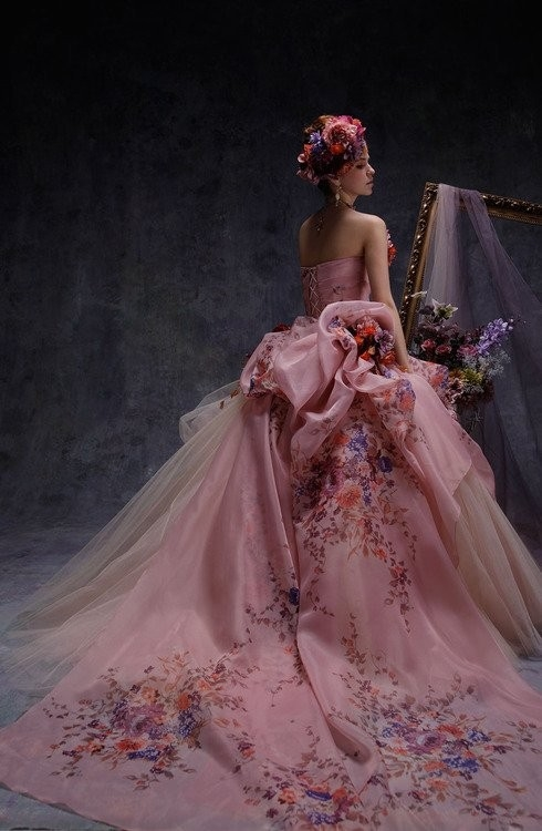Gorgeous Pink Gown With Long Train Pictures Photos And