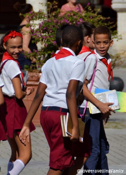 Kids in uniforms, Plaza Vieja, Havana