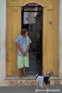 A woman with a dog, Cienfuegos, Cuba