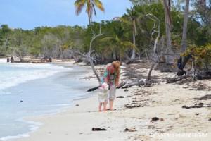 Love travelling family on the beach, Playa Las Salinas, Cuba