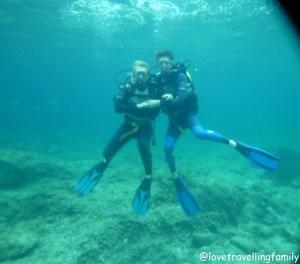 Love travelling family diving Cala Rajada, Mallorca, Spain